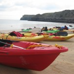 kayaks at barafundle beach, pembrokeshire