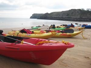 kayaks at barafundle beach, pembrokeshire