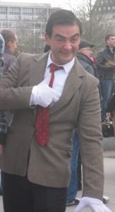 Mr Bean performer on Southbank. Copyright Gretta Schifano