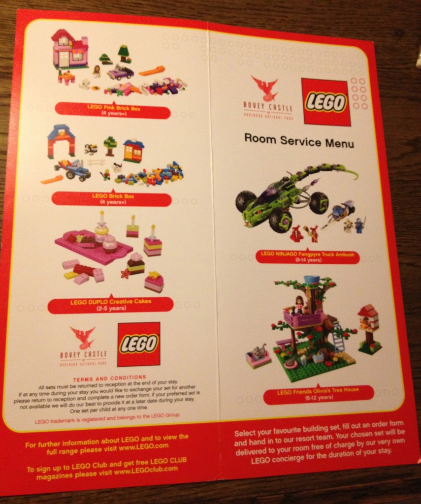 LEGO room service menu, Bovey Castle