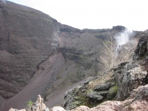 Looking into the crater of Vesuvius