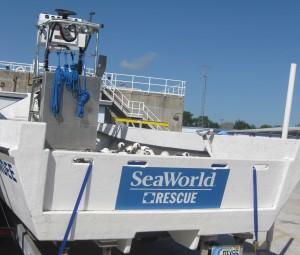 SeaWorld rescue boat. Copyright Gretta Schifano