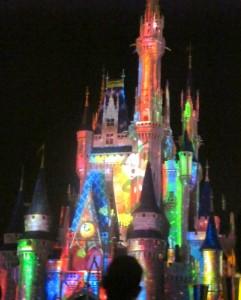 Cinderella's Castle light show. Copyright Gretta Schifano