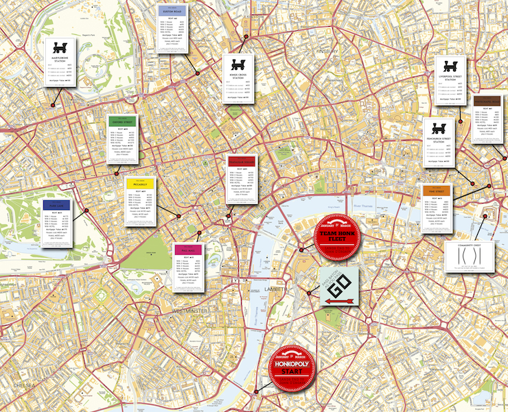 London Honkopoly route for Sport Relief. Designed by Oliver @ Mr McQuitty Ltd