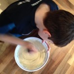 Mixing the pancake batter. Copyright GrettaSchifano