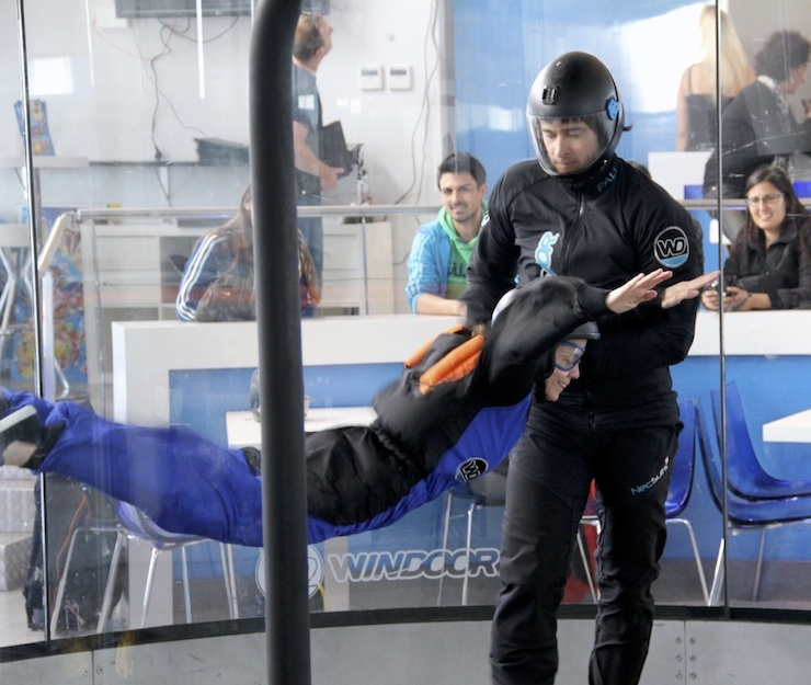Me, indoor skydiving on the Costa Brava. Copyright Gretta Schifano