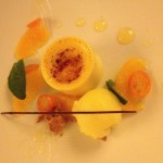 Caramelised orange cream with orange sorbet. Copyright Gretta Schifano