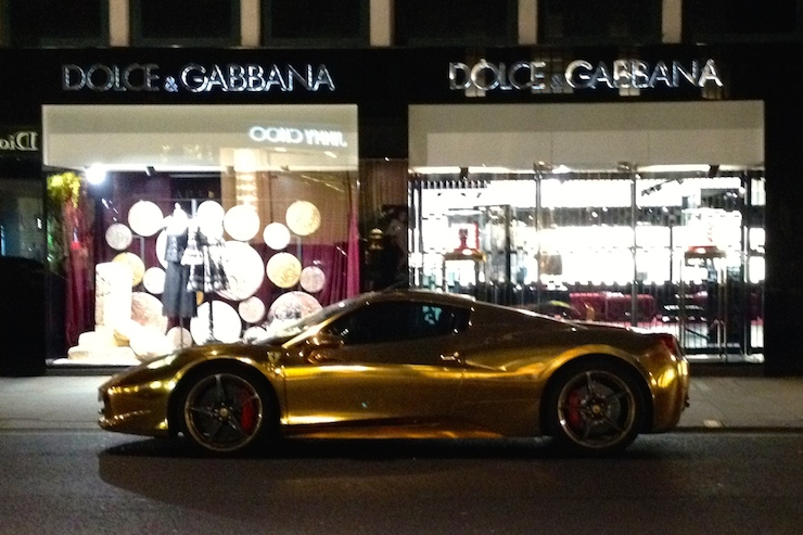 Gold Ferrari, London. Copyright Gretta Schifano