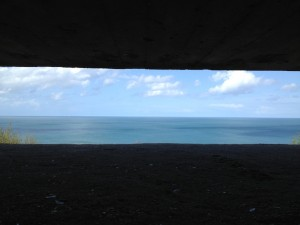 Looking across the Channel from inside the Longues gun battery. Copyright Gretta Schifano