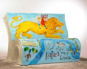 Katie in London BookBench. Image courtesy of Chris O'Donovan for the National Literacy Trust