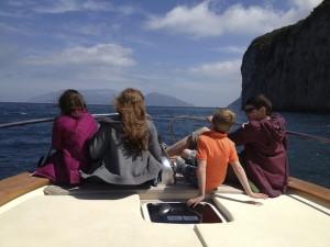 Kids on the boat to Capri. Copyright Gretta Schifano