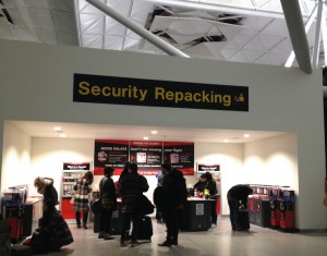 Security Repacking, London Stansted. Copyright Gretta Schifano