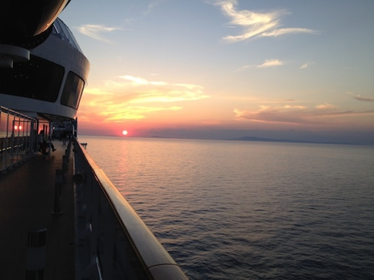 Sunset from the MSC Preziosa. Copyright Gretta Schifano