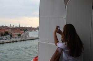 MSC Preziosa Taking photos of Venice from our balcony.Copyright Gretta Schifano