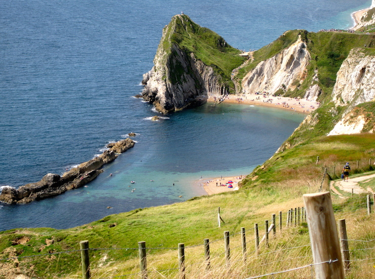 Walking from Lulworth Cove to Durdle Door. Copyright Gretta Schifano