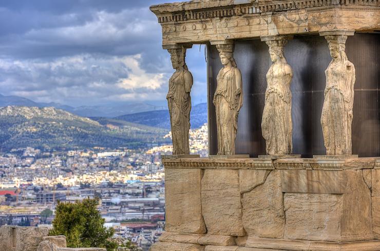 Caryatids – Erectheion temple on Acropolis hill. Shutterstock image courtesy of  DiscoverGreece.com