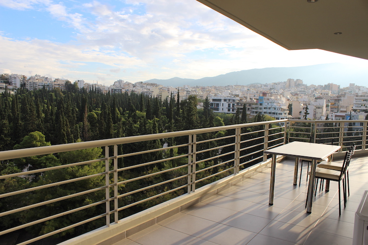 Balcony, Athens apartment. Copyright Gretta Schifano