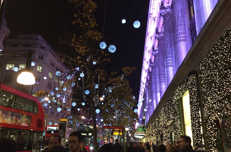 Christmas lights, Oxford Street. Copyright Gretta Schifano