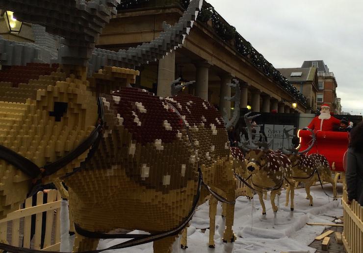 LEGO Santa, sleigh and reindeer at Covent Garden. Copyright Gretta Schifano