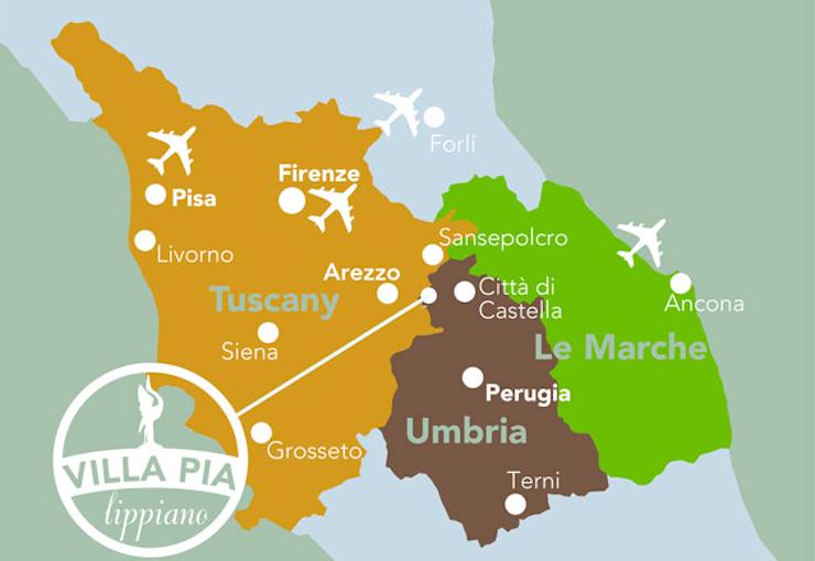 Villa Pia map. Image courtesy of Villa Pia.