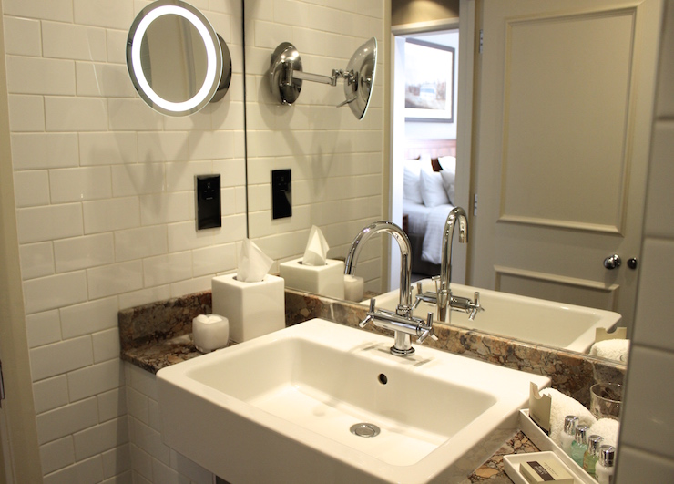 Our en-suite bathroom at the Goodwood Hotel. Copyright Gretta Schifano