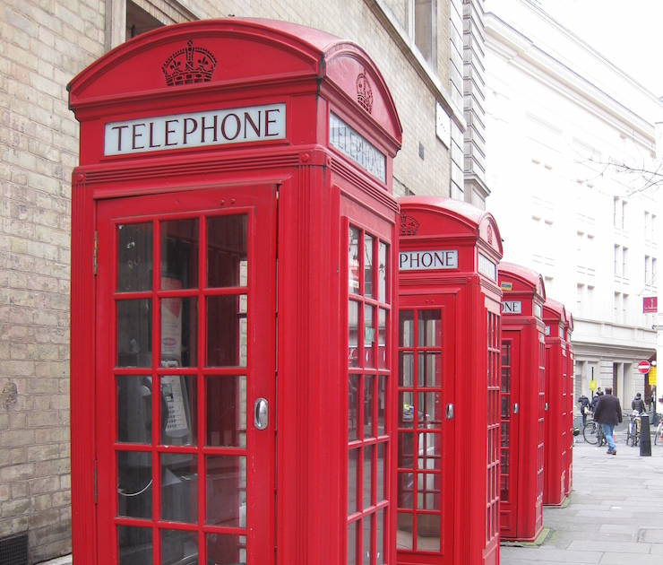 Red phone boxes. Copyright Gretta Schifano