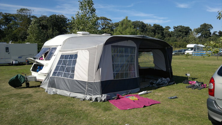 Marianne's previous caravan and awning. Image courtesy of Marianne Weekes