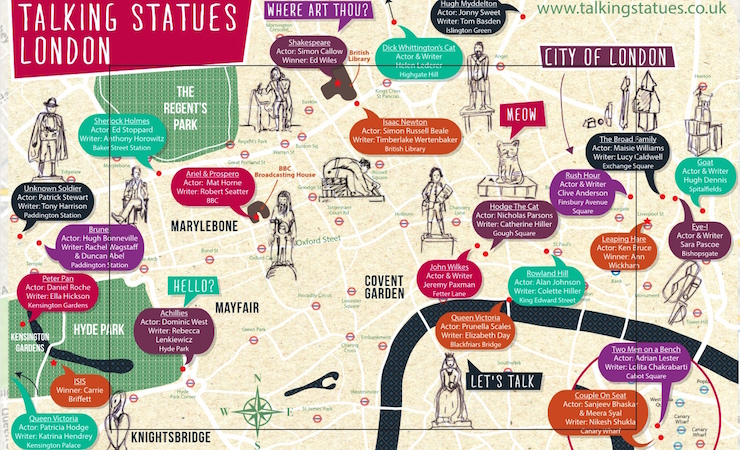 Talking Statues London map. Copyright Talking Statues