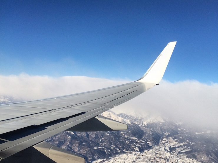 View of the Alps from a plane window. Copyright Gretta Schifano