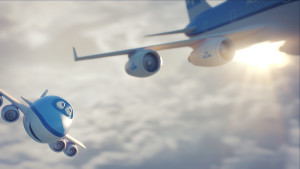Bluey from KLM's 'Bluey the Movie'. Image courtesy of KLM