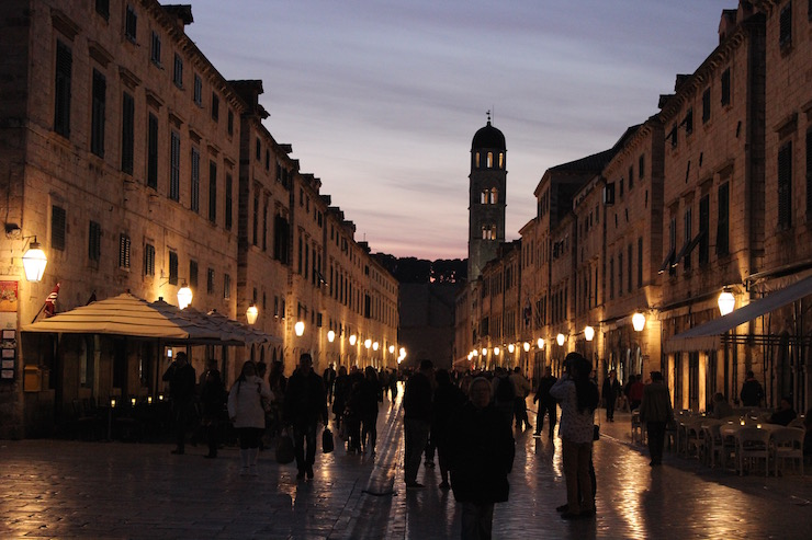 Evening view of Dubrovnik main street from entrance to Sloboda Cinema. Copy right Sal Schifano
