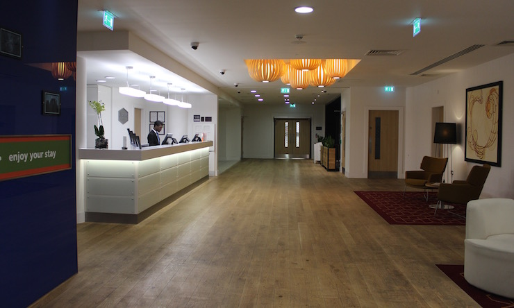 Reception at Gatwick Hampton by Hilton hotel. Copyright Gretta Schifano