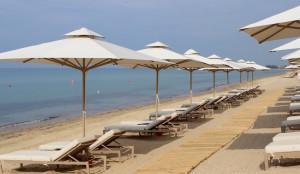 Ikos Oceania private beach. Copyright Gretta Schifano