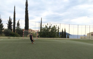 Playing football, Dubrovnik Sun Gardens resort. Image copyright Gretta Schifano