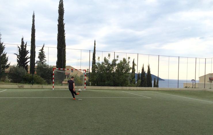 Playing football, Dubrovnik Sun Gardens resort. Image copyright Gretta Schifano