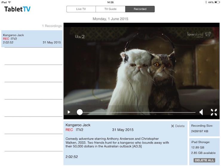 TabletTV showing incorrect programme information. Copyright Gretta Schifano