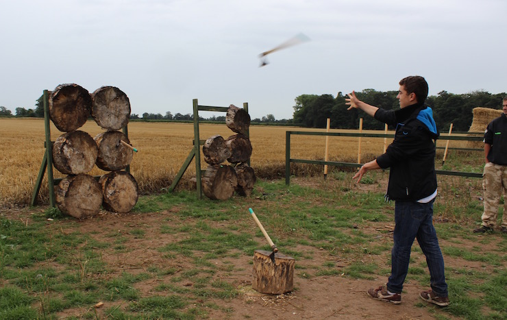 My nephew throwing a tomahawk at Quex park. Copyright Gretta Schifano