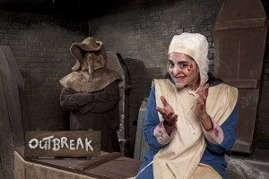 The Plague Doctor and Assistant welcome guests to Outbreak! at The London Dungeon. Image courtesy of The London Dungeon
