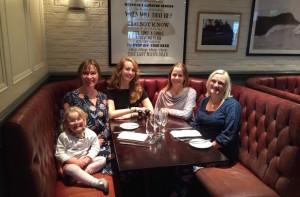Gwen & Nell Heshram, Jen Howze, Gretta Schifano and Afra Wilmore at Reform Social & Grill, London. Copyright Gretta Schifano