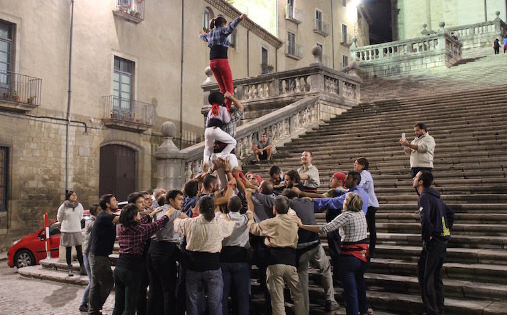 Marrecs de Salt human tower rehearsal 1, Girona. Copyright Sal Schifano