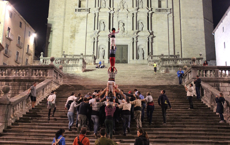 Marrecs de Salt human tower rehearsal 3, Girona. Copyright Sal Schifano