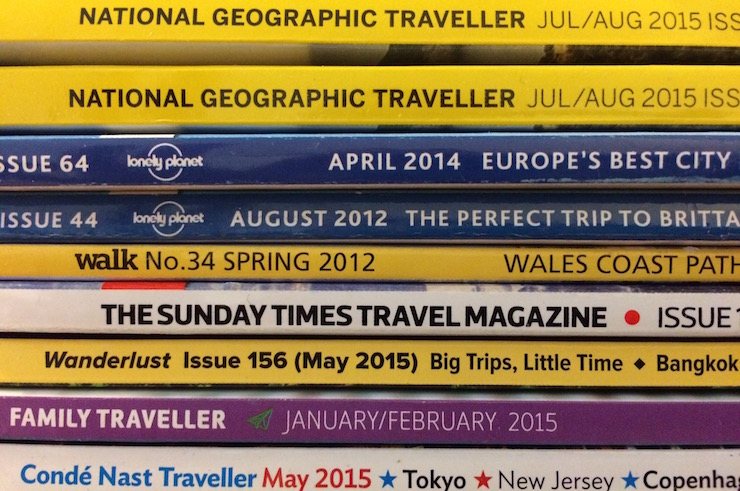 Travel magazines. Copyright Gretta Schifano
