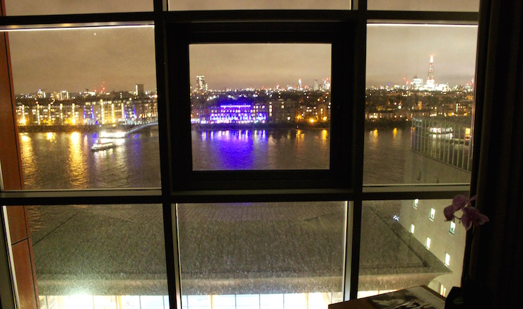 View of Thames from our room at Four Seasons Canary Wharf. Copyright Gretta Schifano