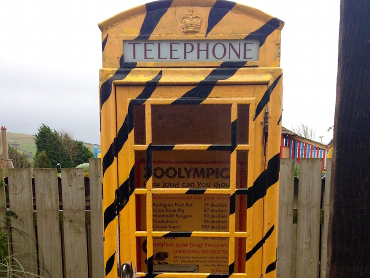 Decibel phone box, Drusillas Park. Copyright Sharmeen Ziauddin