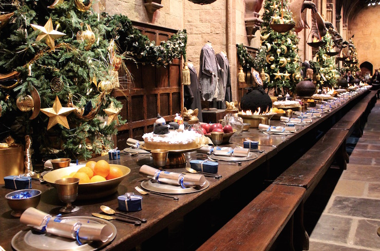 Great Hall Hogwarts, decoareted for Hogwarts in the Snow at the Warner Bros Studio Tour. Copyright Gretta Schifano