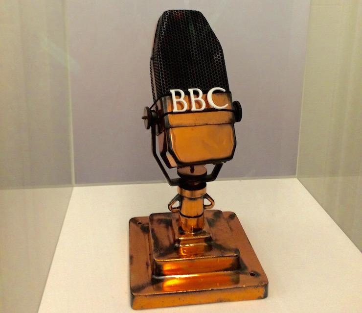 Iconic BBC microphone, Broadcasting House. Copyright Gretta Schifano