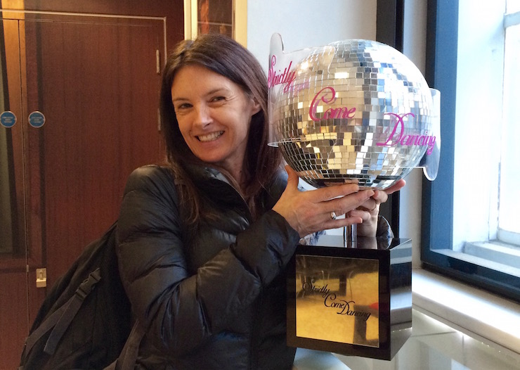 Suzanne Barton with the Strictly Come Dancing trophy on the BBC Bradcasting House Tour. Copyright Gretta Schifano