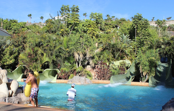 The water ride structures are camouflaged with planting at Siam Park. Copyright Gretta Schifano