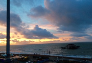 View of West Pier and i360 from Holiday Inn Brighton Seafront. Copyright Gretta Schifano