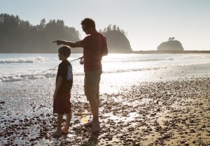 Moya's son and brother fishing off a beach at La Push at the mouth of the Quileute River on the North West Coast of the Olympic Peninsula. Copyright Moya Slade